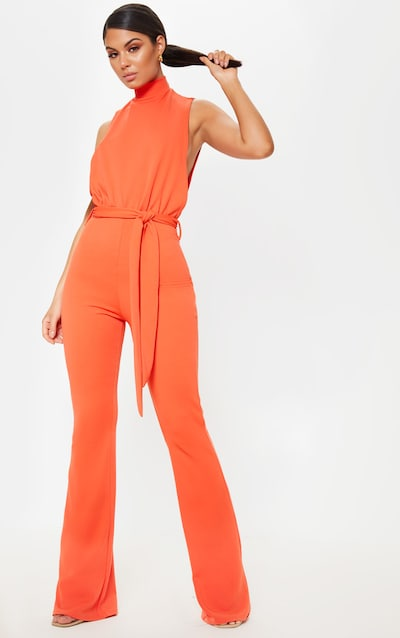 2df272438477f Bright Orange Scuba High Neck Tie Waist Jumpsuit