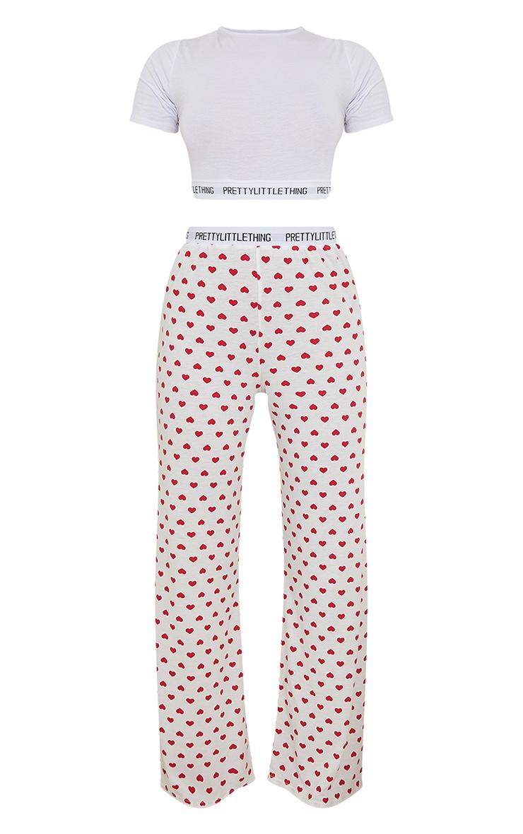 PRETTYLITTLETHING Heart Print Trouser PJ Set 5