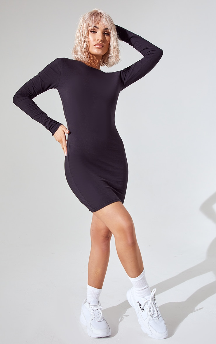 Essential Black Cotton Blend Long Sleeve Bodycon Dress 3