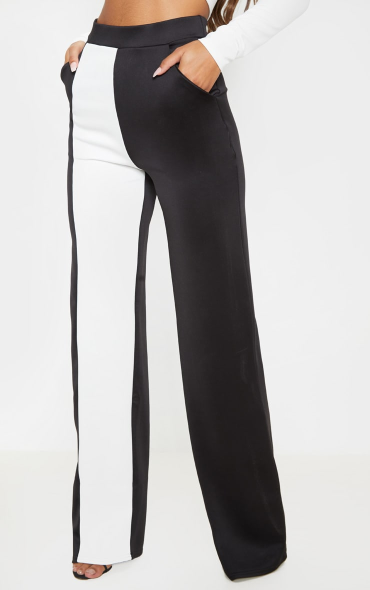 Pantalon ample à parties contrastées blanches en néoprène 2