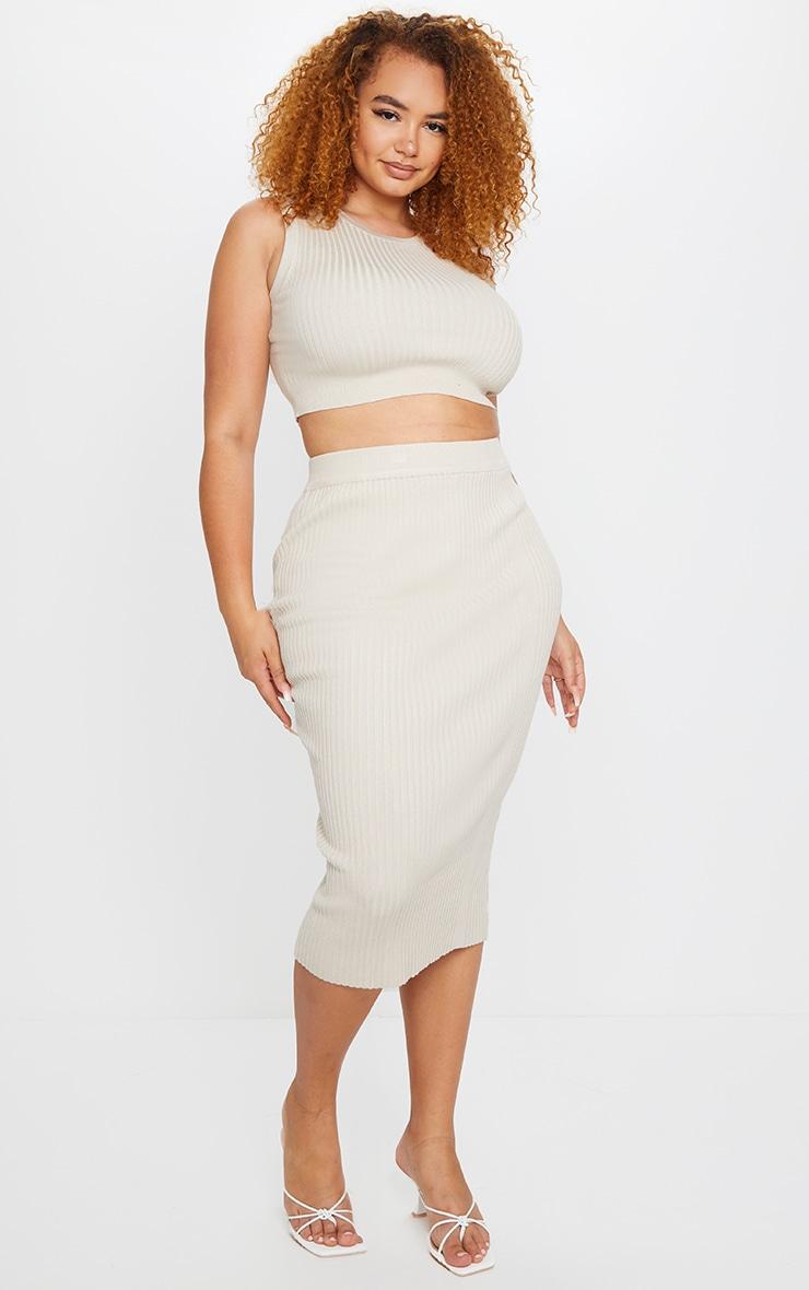 Plus Stone Rib Knit Midi Skirt 1