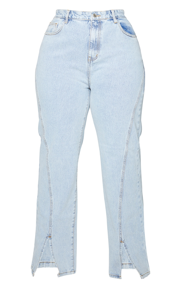 Plus Light Blue Wash Seam Detail Split Front Jeans 5