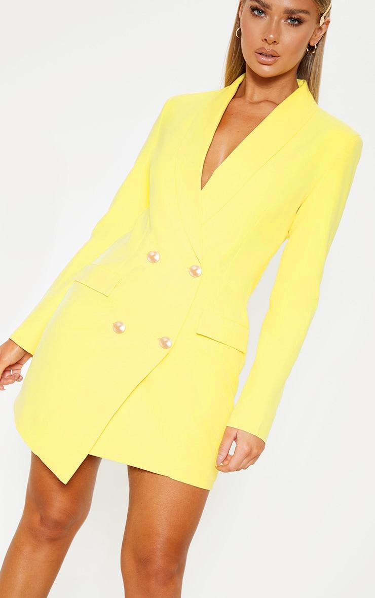 Lemon Gold Button Blazer Dress 5