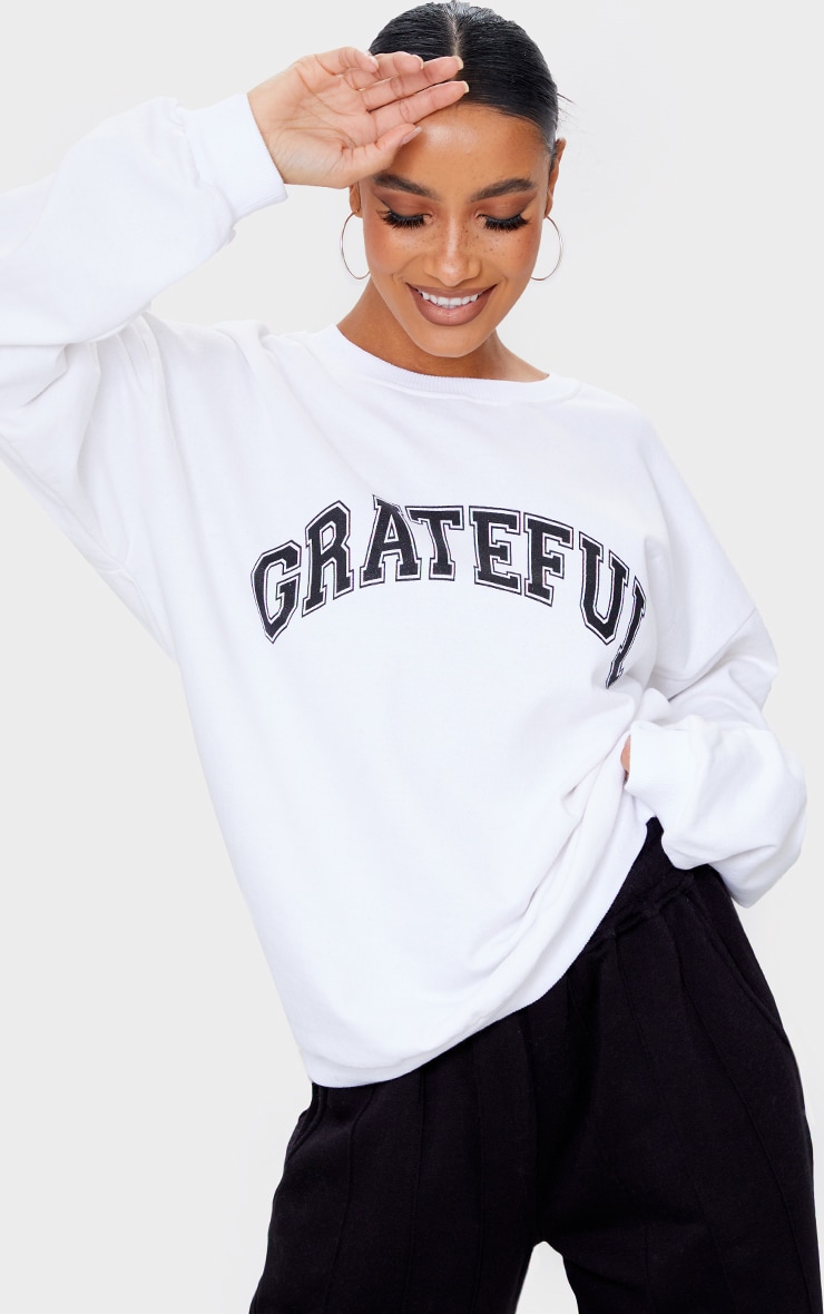 Sweat blanc à slogan Grateful  1