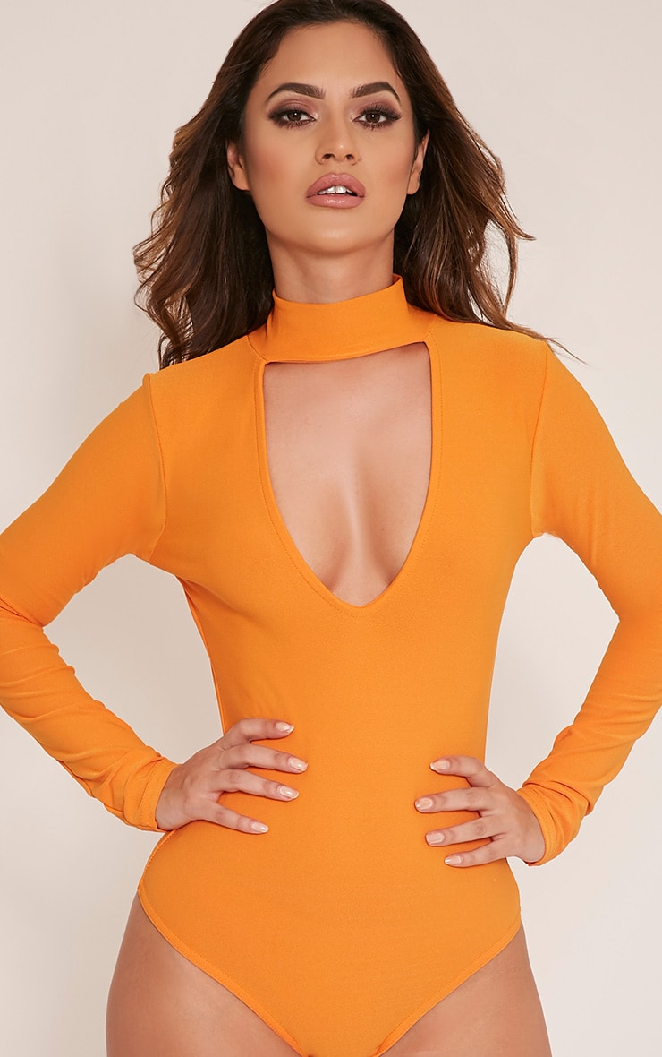 Skylee Bright Orange Cut Out Neck Thong Bodysuit 2