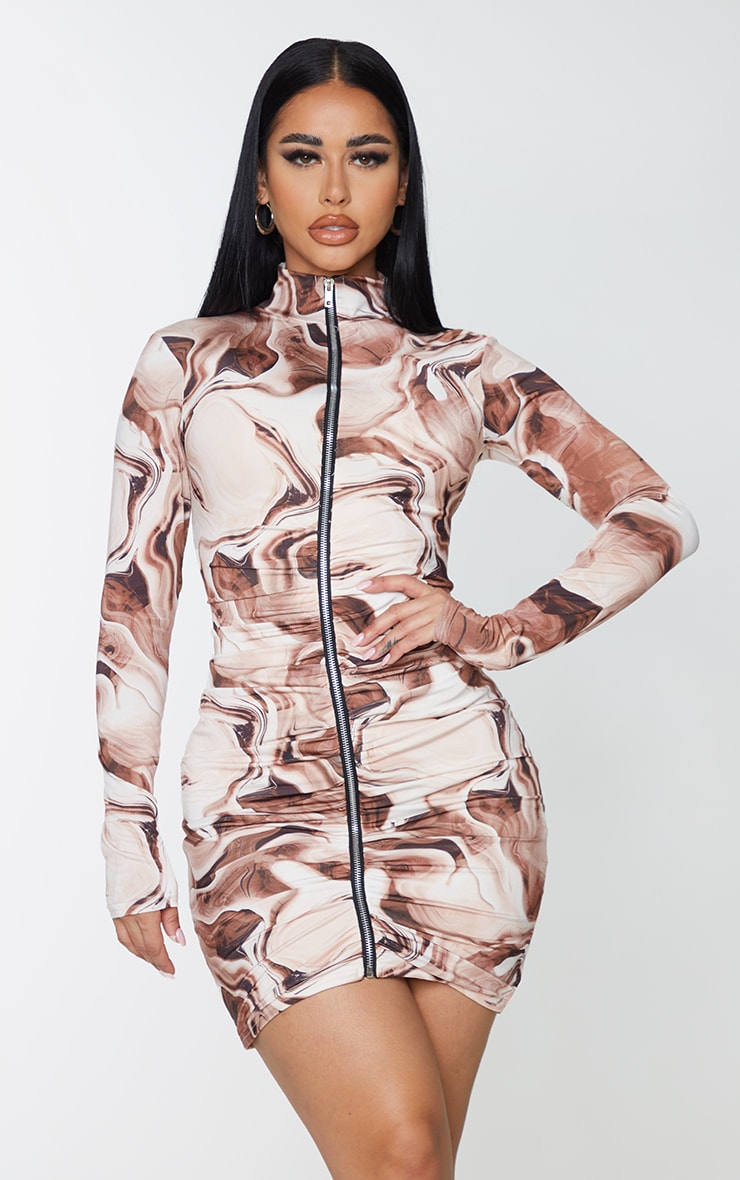 Shape Brown Marble Print Zip Front Collar Detail Bodycon Dress 2