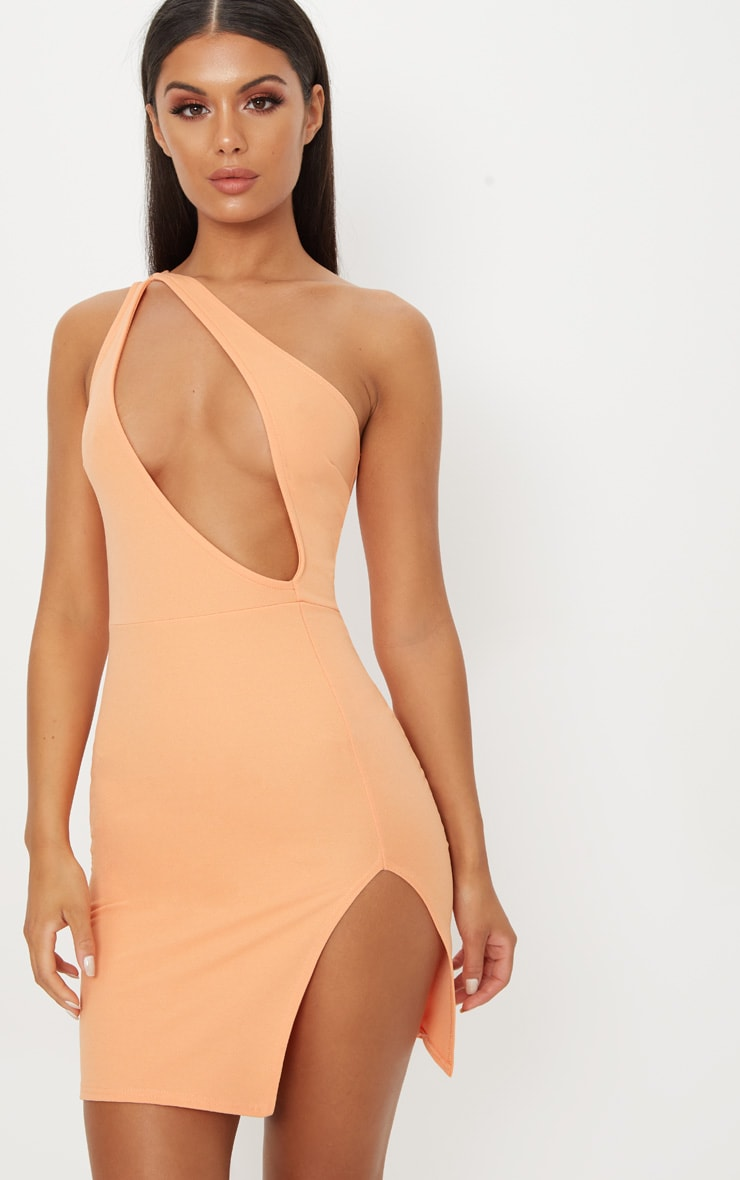 Tangerine One Shoulder Extreme Split Detail Bodycon Dress 1
