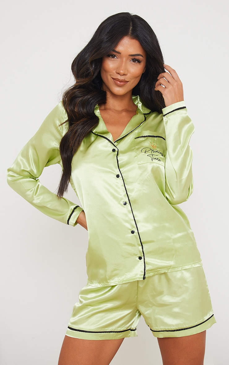 Green Disney Princess Tiana Embroidered Short Satin Pj Set 1