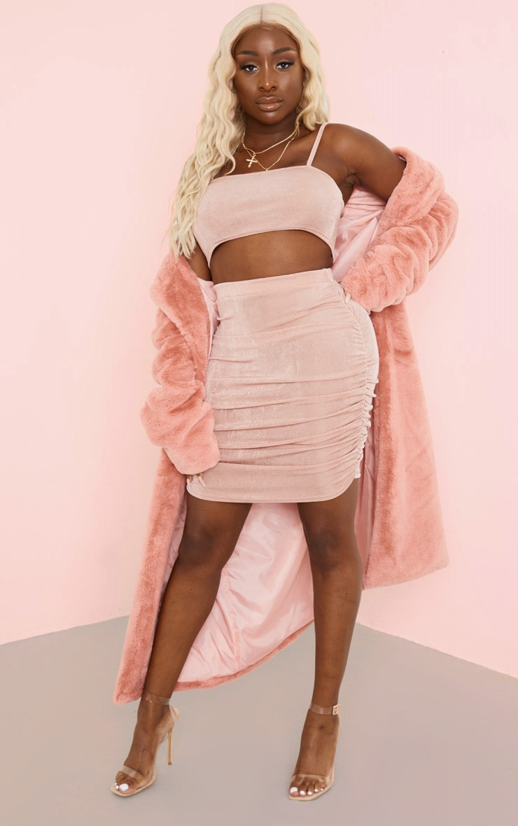 Rose Strappy Crop and Ruched Midi Skirt Set 4