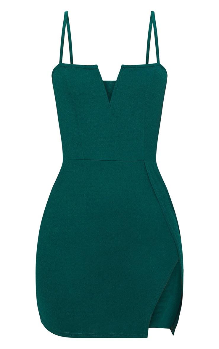 Emerald Green Extreme Thigh Split Panelled Plunge Bodycon Dress 3