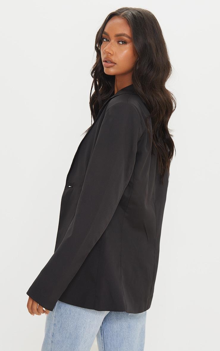 Black Woven Cinched Curve Hem Blazer 2