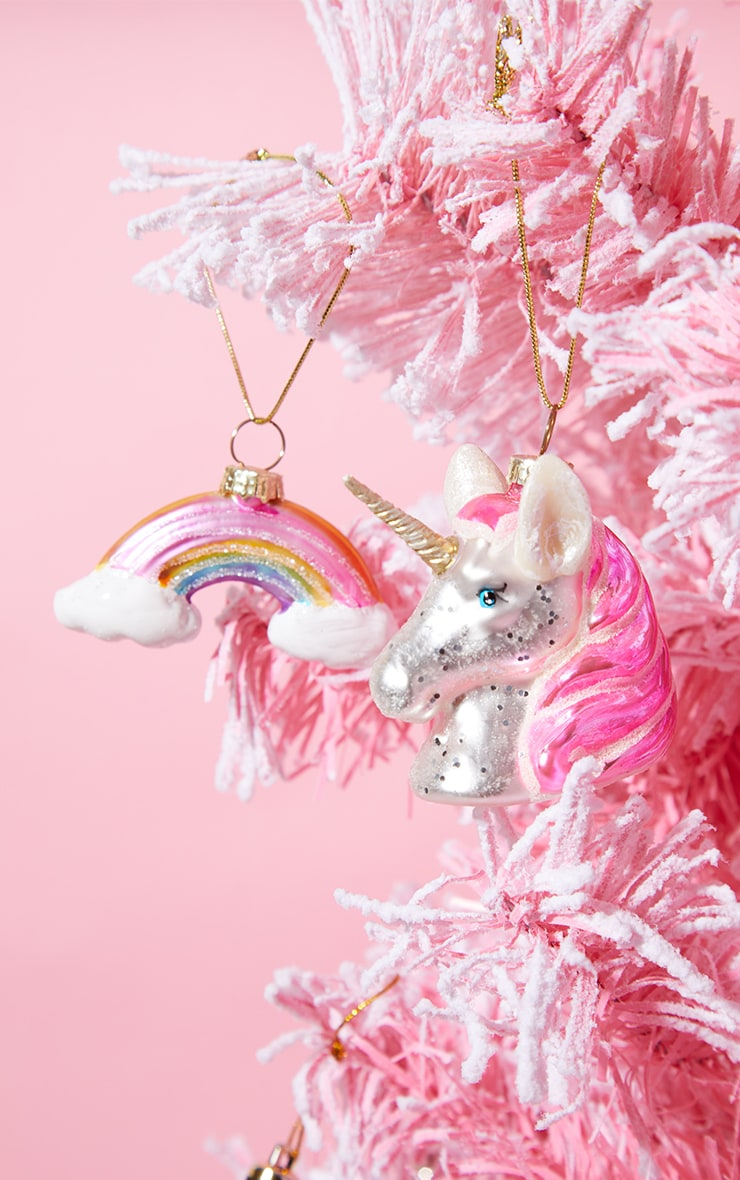 Sass & Belle Unicorn and Rainbow 2 Pack Baubles 1