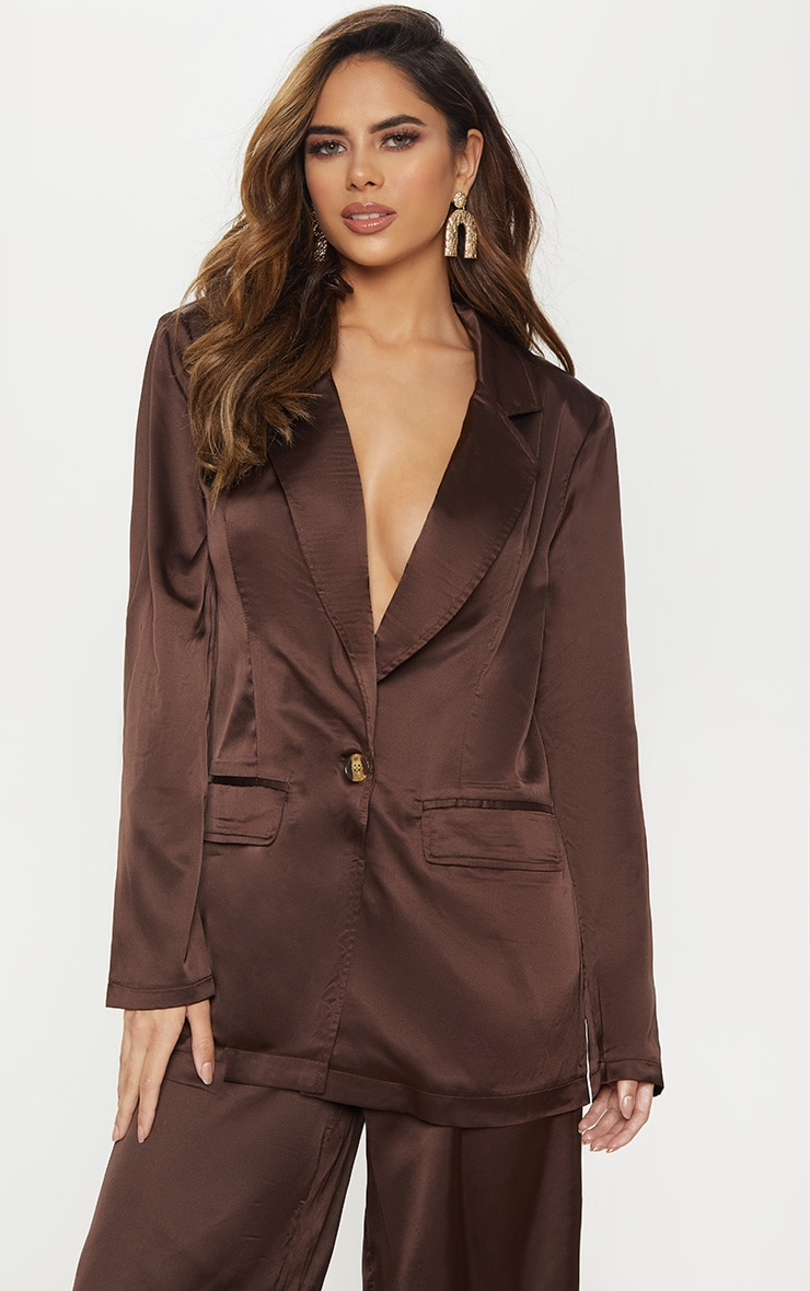 Chocolate Satin Oversized Blazer