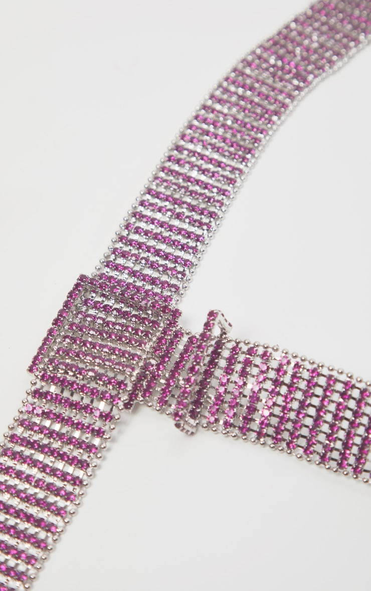 Pink Diamante Chain Link Belt 3