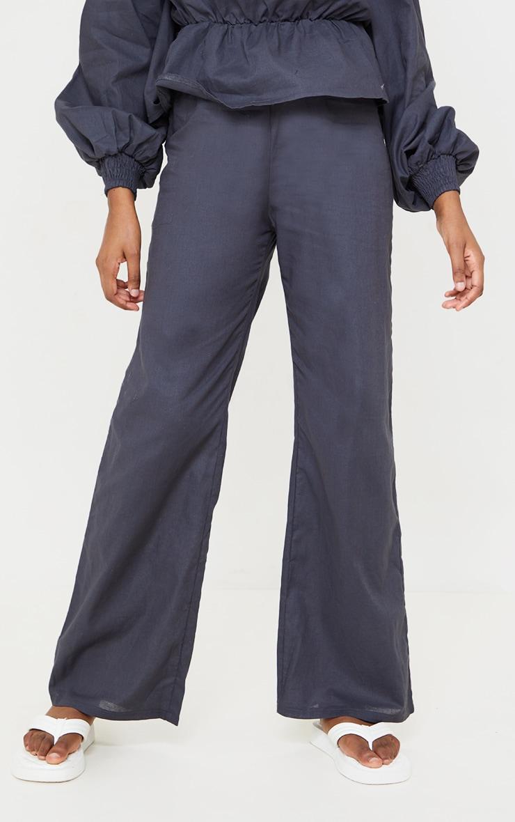 Navy Woven Wide Leg Pants 2