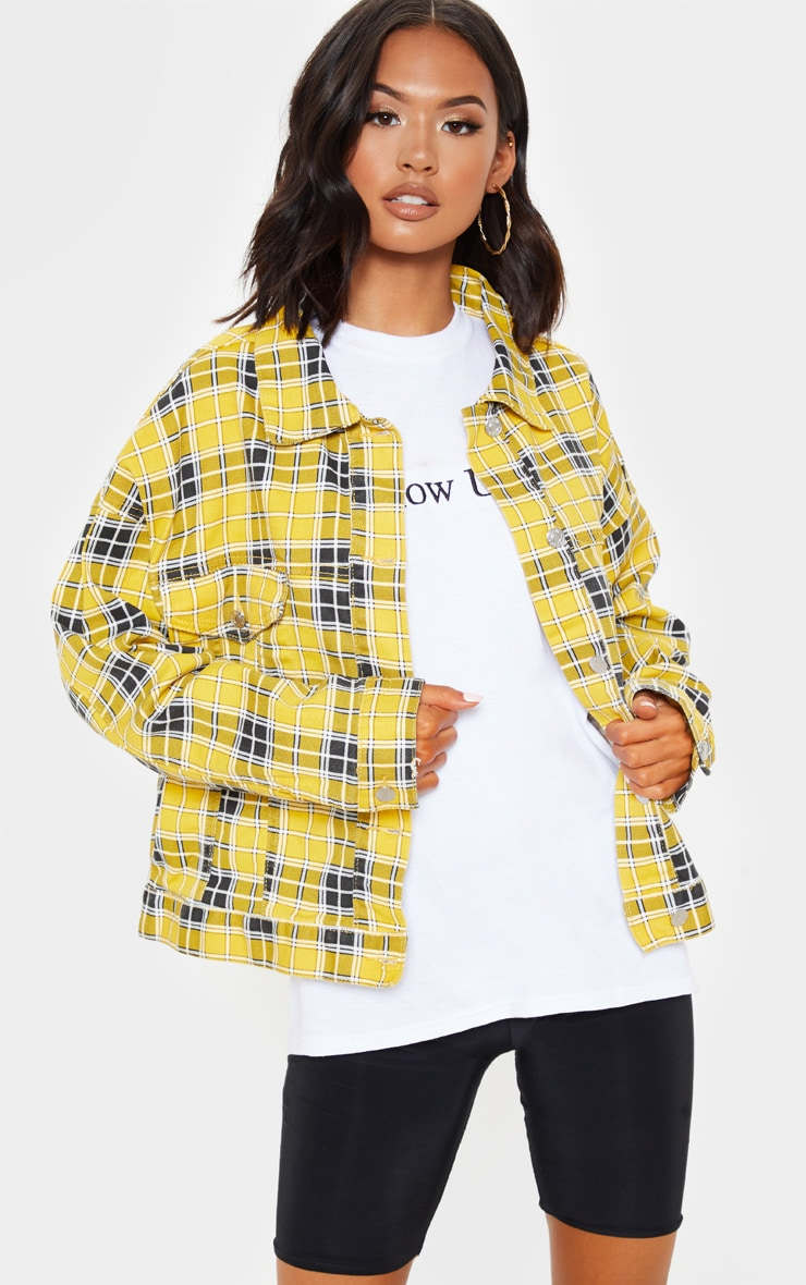 Yellow Checked Oversized Denim Jacket  4