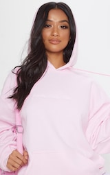 PRETTYLITTLETHING Light Pink Embroidered Oversized Hoodie 6