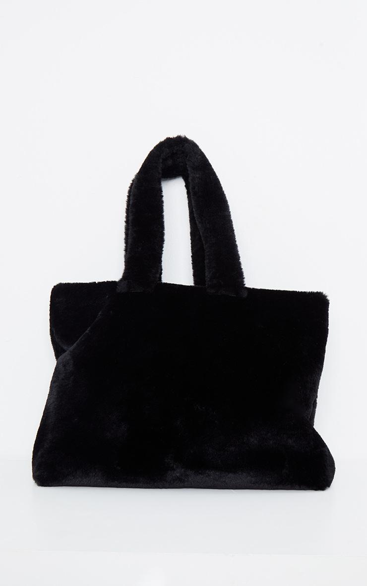 Black Oversized Fur Tote Bag 2