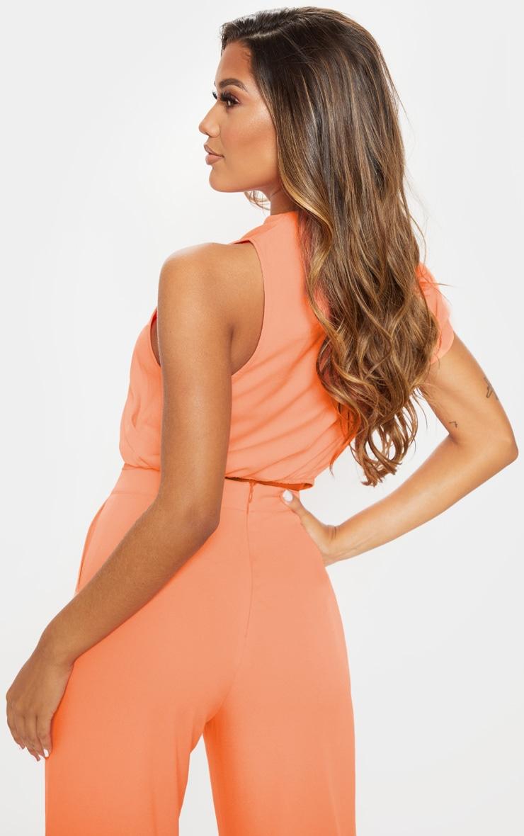 Peach High Neck One Shoulder Blouse 2