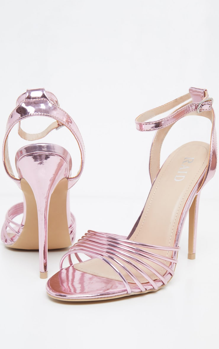 Pink Strappy Toe Metallic Sandal
