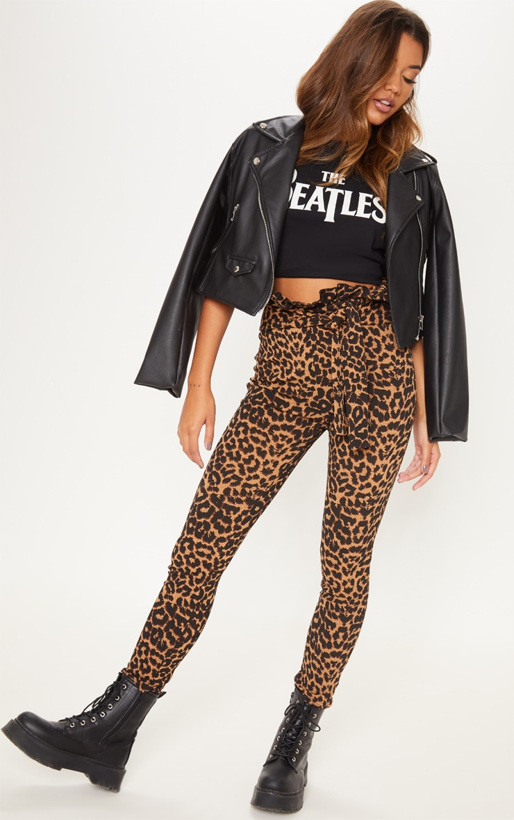 Pantalon skinny paper bag imprimé léopard