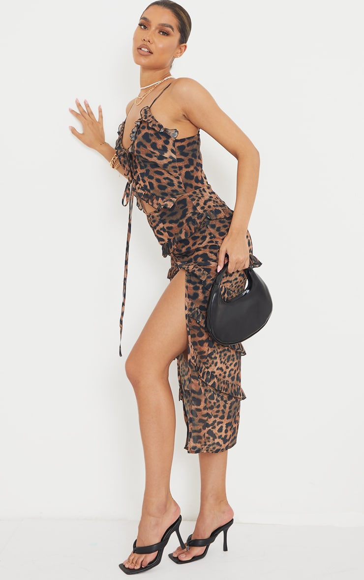 Brown Leopard Print Tiered Ruffle Strappy Midaxi Dress 3
