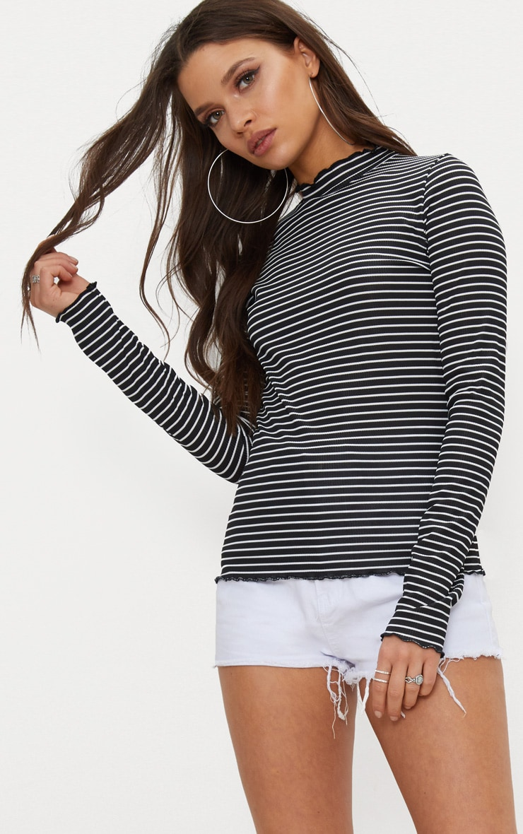 Black Stripe Frill Edge High Neck Top  3
