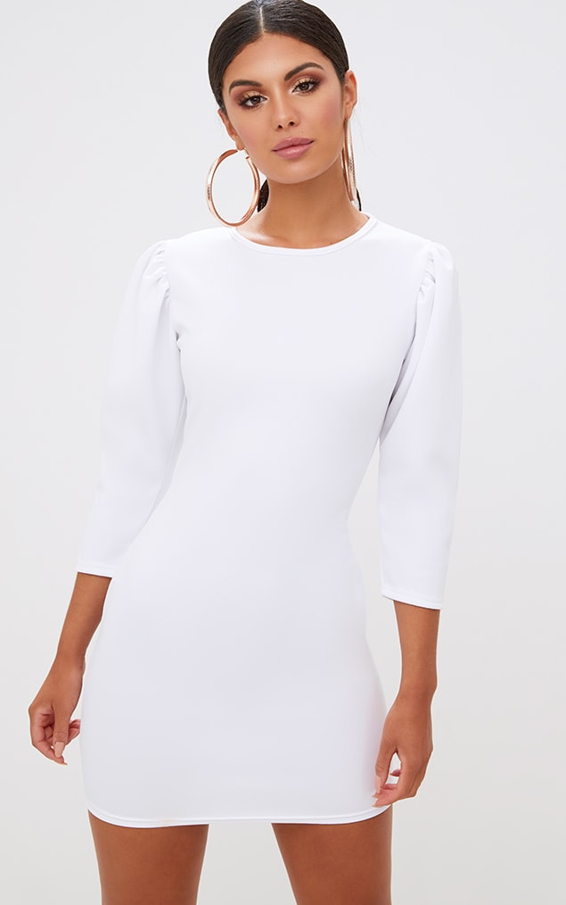 White Puff Detail 3/4 Sleeve Bodycon Dress 1