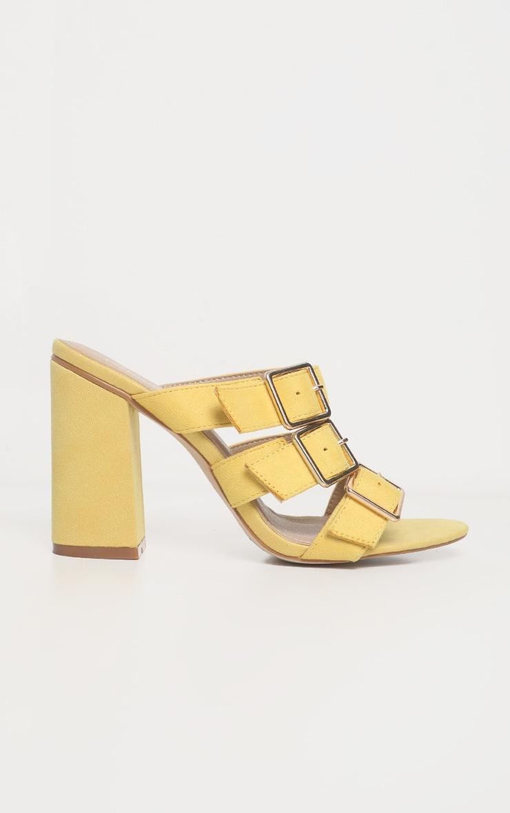 Yellow Triple Strap Buckle Mule Sandal 4