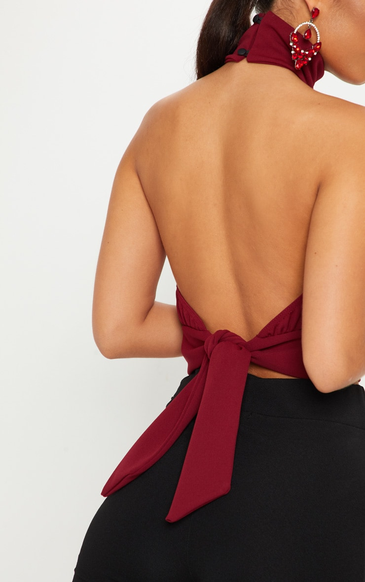Burgundy Backless Halterneck Top 5