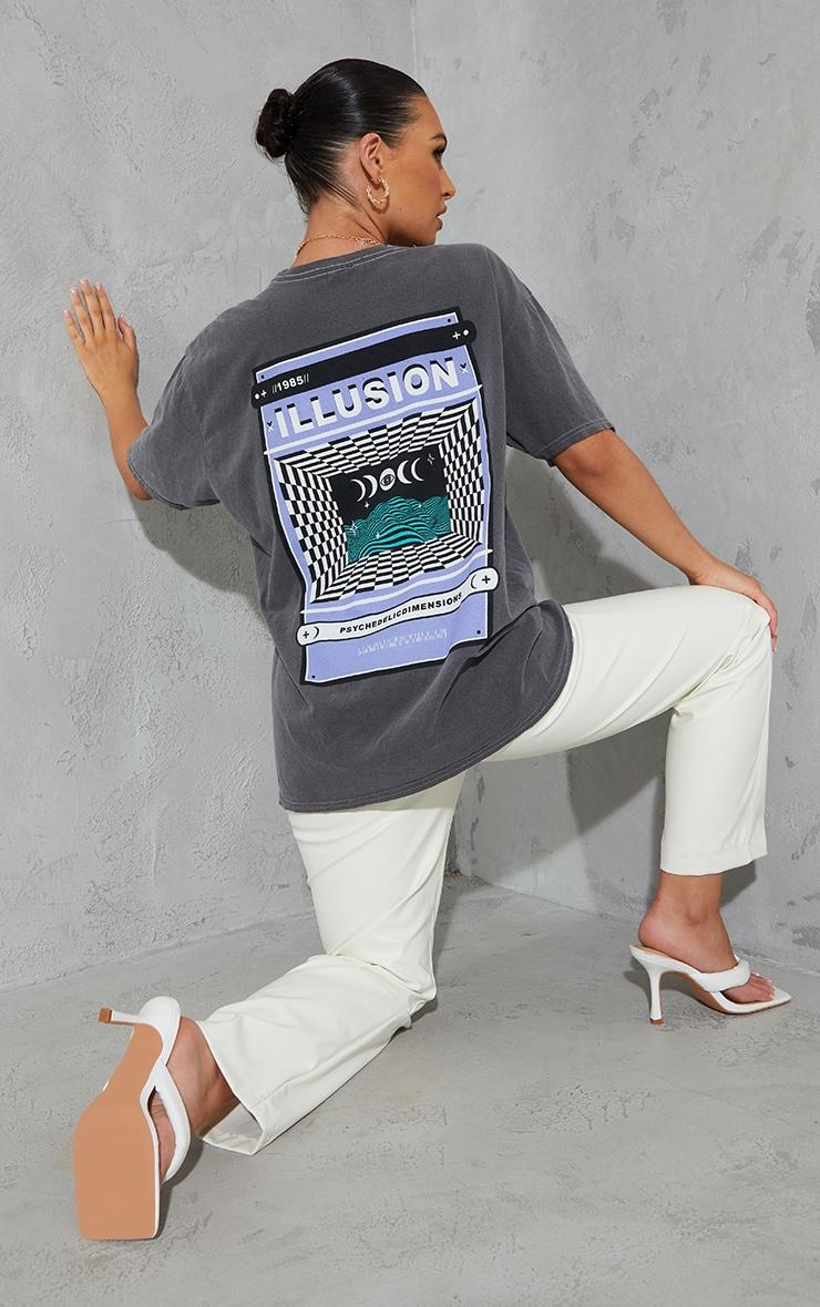Grey Illusion Back Print Washed T Shirt 1