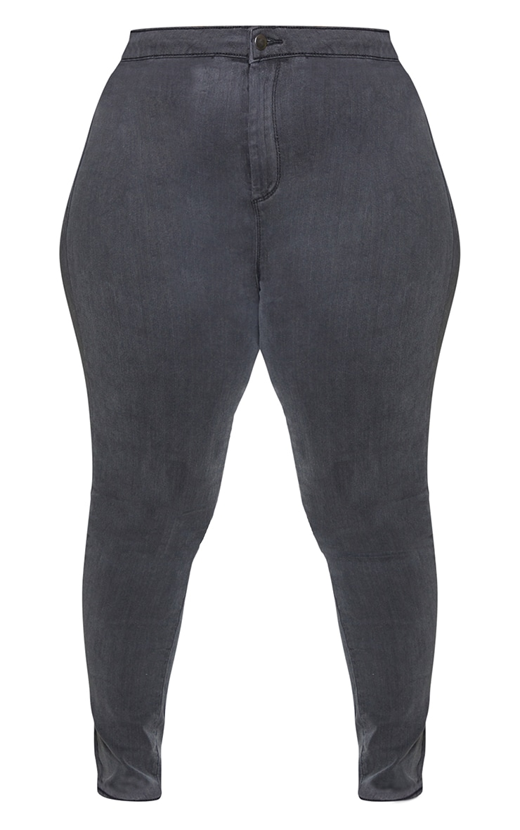 PRETTYLITTLETHING Plus Washed Black Disco Skinny Jean 5