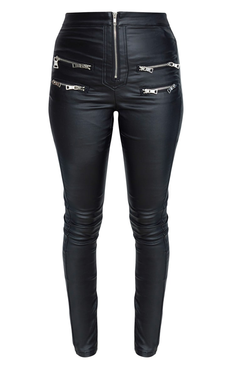 Black Biker Detail Coated Skinny Jeans 3