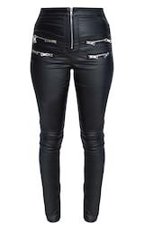 Black Biker Detail Coated Skinny Jeans 3