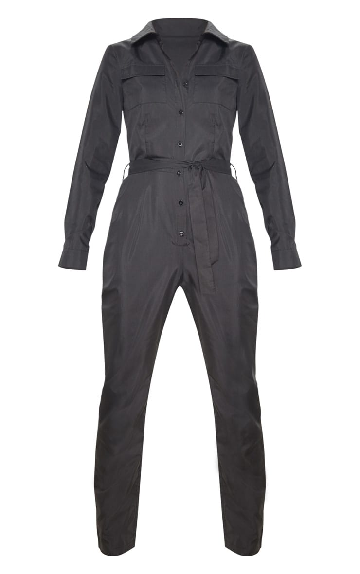 Tall Black Square Pocket Long Sleeve Utility Jumpsuit 3