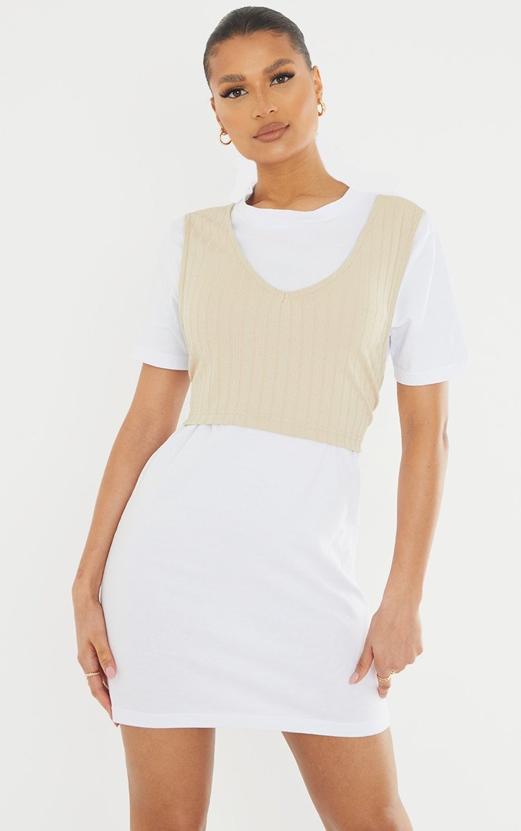 White Rib Vest Wrap Detail T Shirt Dress 3