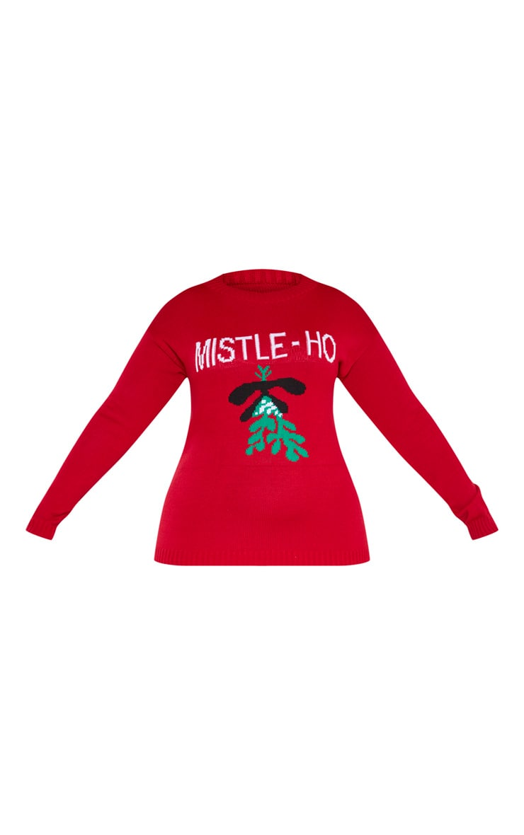 Plus Red Mistle-Ho Christmas Slogan Jumper 3