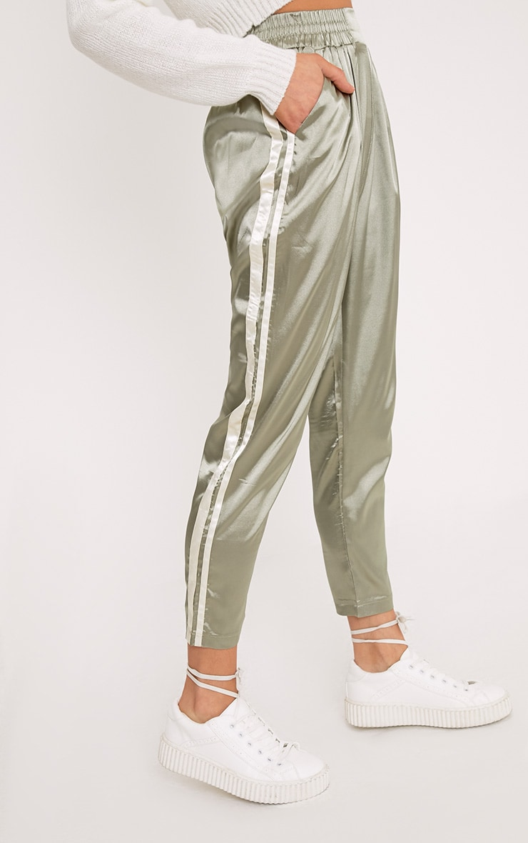 Shannon Sage Green Satin Side Stripe Boxer Joggers 5