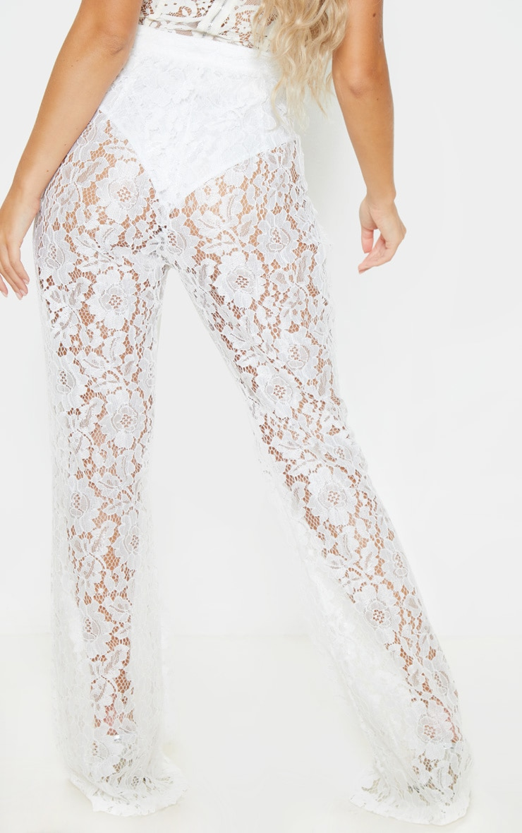 White Lace Sheer Flare Leg Trousers 4