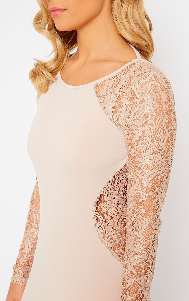 Debbie Nude Lace Insert Maxi Dress 5