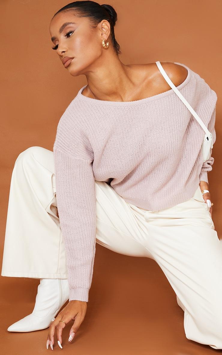 Blush Off The Shoulder Knitted Jumper 1