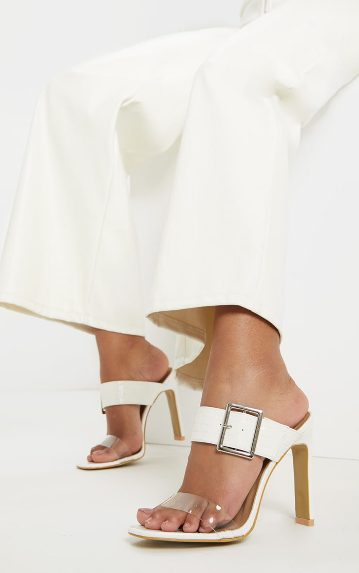 White Flat Heel Square Toe Buckle Strap Mule 1