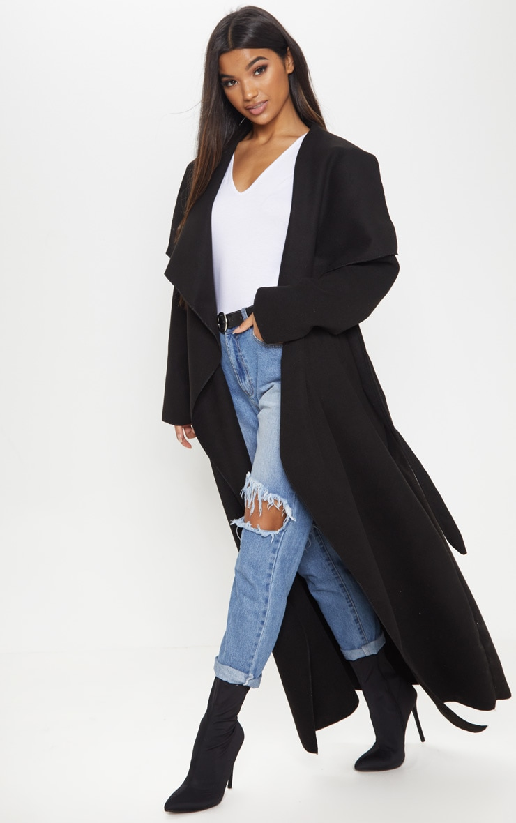 Black Maxi Length Oversized Waterfall Belted Coat 1