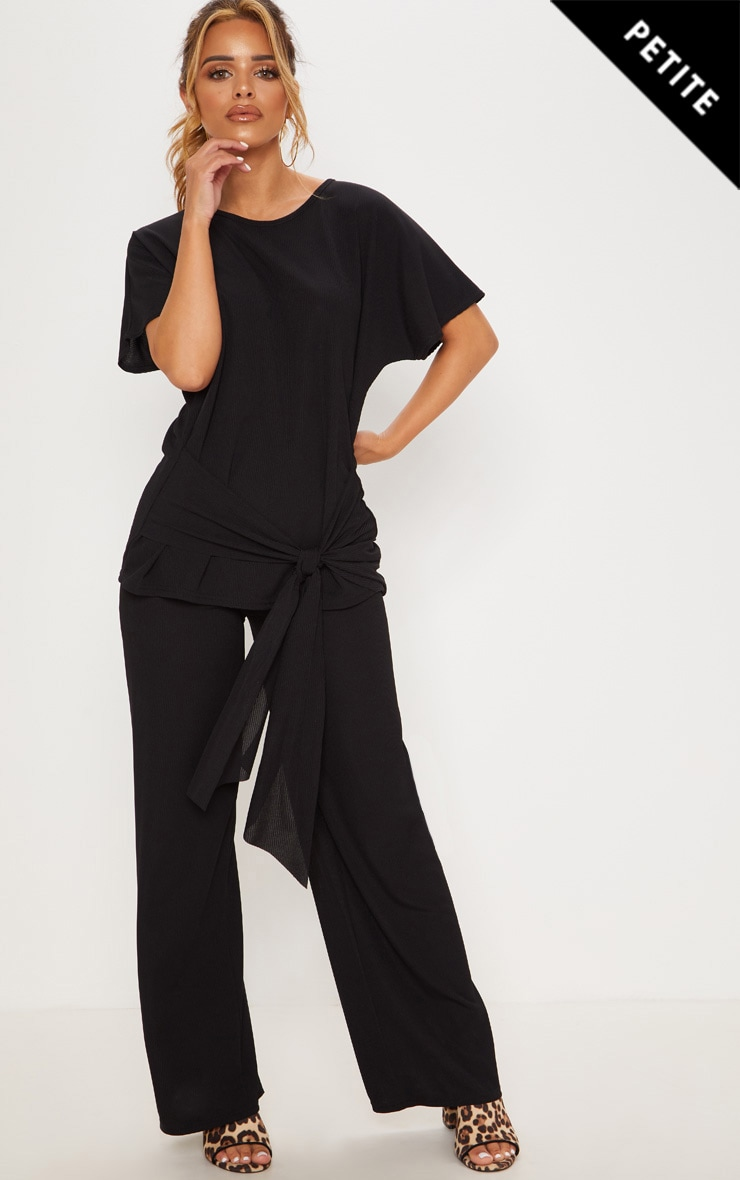 Petite Black Ribbed Wide Leg Trouser