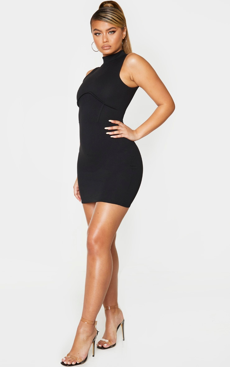 Black High Neck Sleeveless Underbust Detail Bodycon Dress 3