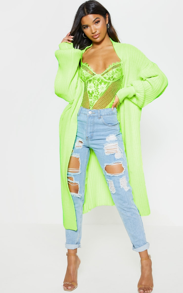 Lime Ribbed Knitted Midi Cardigan 1