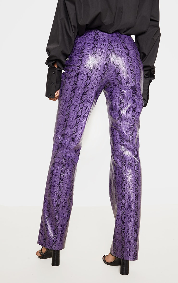 Purple Faux Leather Snake Print Straight Leg Trouser 4