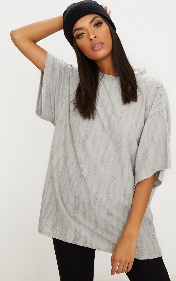 Grey Distressed Boyfriend T Shirt 1