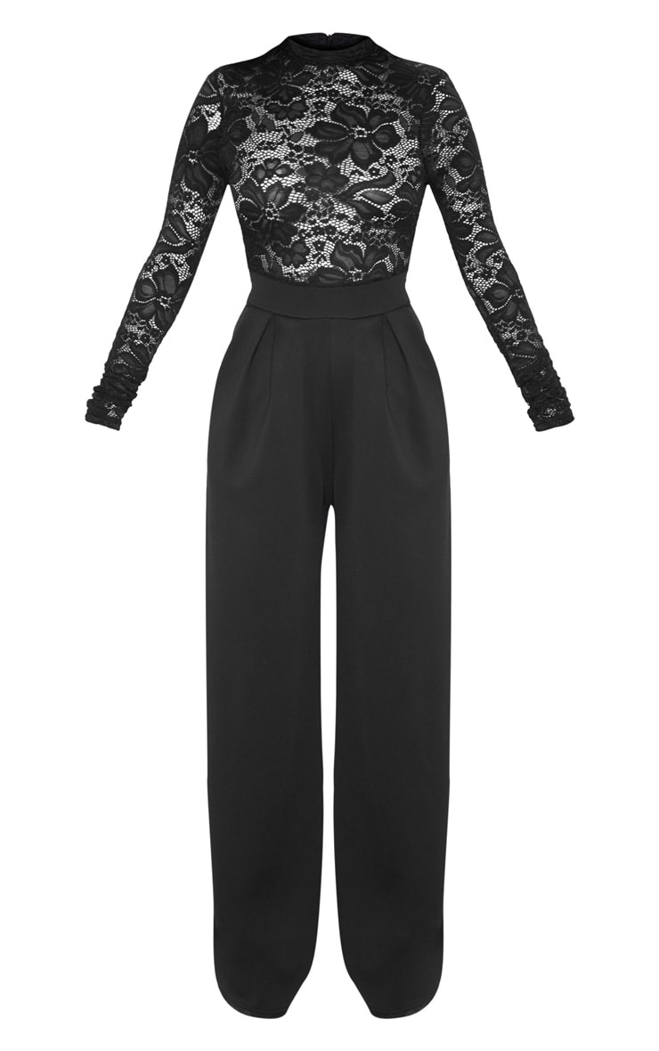 Petite Black Lace High Neck Long Sleeve Jumpsuit 3