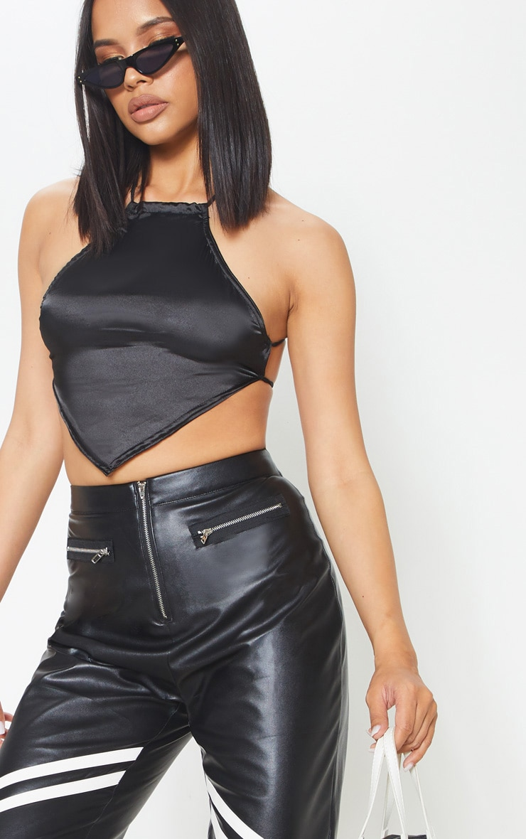 Black Backless Satin Crop Top 5